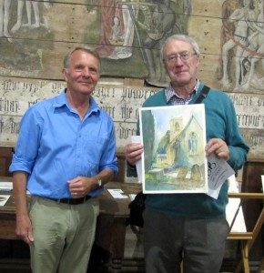 Douglad cross with his 1st prize-winning watercolour of the church (on right). Andrew Pitt (judge) on left.